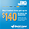 Buy Four Select Tires Get a $70 Tire Rebate + $70 Credit Card Rebate